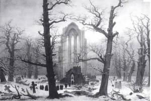 Cimetière de monastère sous la neige - Caspar David Friedrich (1818)